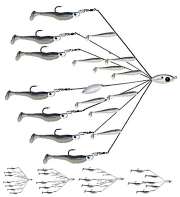 Picasso Bait Ball Extreme comes in 5 castable umbrella rig models to simulate a school of minnows while meeting your local regulations