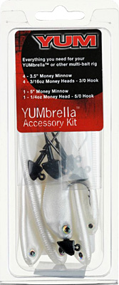 Yumbrella Rig Accessory Kit contains 5 Money Minnows and 5 jigheads